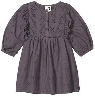 Cotton On Goldie Long Sleeve Dress (Little Kids) (Ocean Grey Broderie) Girl's Dress
