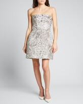 Thumbnail for your product : Monique Lhuillier Embroidered Strapless Cocktail Dress