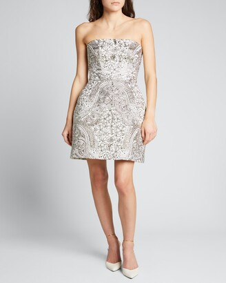 Monique Lhuillier Embroidered Strapless Cocktail Dress
