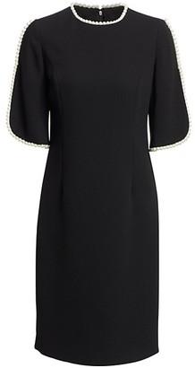Teri Jon by Rickie Freeman Embellished Slit Sleeve Sheath Dress