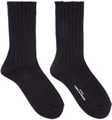 Comme des Garcons Navy Rib Knit Socks