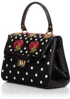 Clever Carriage High Tea Polka-Dot & Rose Hand Needlepoint Shopper with Leather Trim
