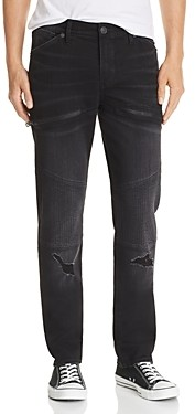 True Religion Rocco Skinny Fit Moto Jeans in Coal Mine
