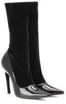 Balenciaga Velvet And Patent Leather Boots