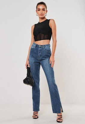 Missguided Blue Wrath High Waisted Split Hem Jeans
