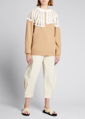 Tibi Lana Crochet-Collar Sweater