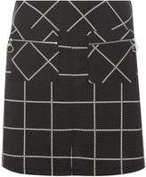 Grey and White Dogtooth A-line skirt