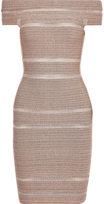 Herve Leger Off-the-shoulder Metallic Bandage Mini Dress
