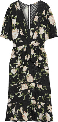 Johanna Ortiz Oriental State Floral-print Cotton And Silk-blend Broderie Anglaise Midi Dress