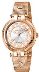 Roberto Cavalli By Franck Muller 40mm Contrast Logo Watch w/ Mesh Bracelet, Rose/White