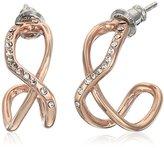 Fossil Glitz Twist Rose Gold Hoop Earrings