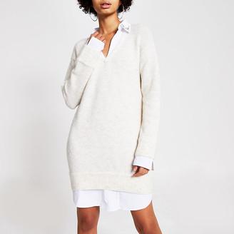 River Island Cream embellished jumper shirt dress