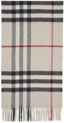 Burberry Off-White Cashmere Classic Check Scarf