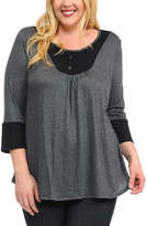Celeste Charcoal & Black Polka Dot Button-Accent Tunic - Plus