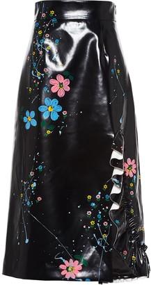 Miu Miu Floral-Print Mid-Length Skirt