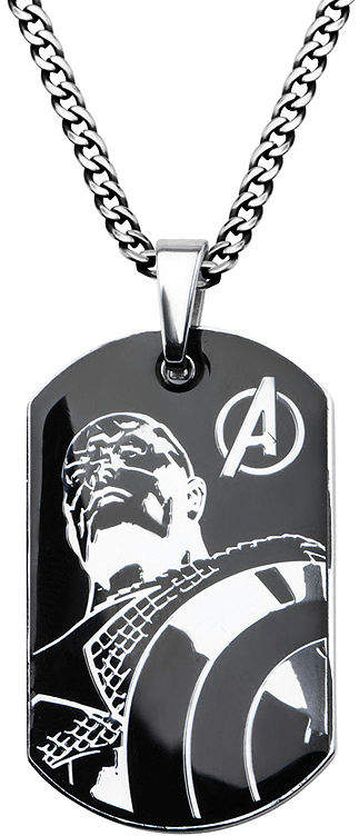 JCPenney FINE JEWELRY Marvel Captain America Mens Stainless Steel and Black IP Dog Tag Pendant Necklace