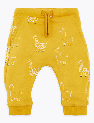 Marks and Spencer Cotton Rich Llama Print Joggers (0-3 Yrs)