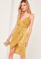 Missguided Yellow Petite Silky Strappy Wrap Over Midi Dress