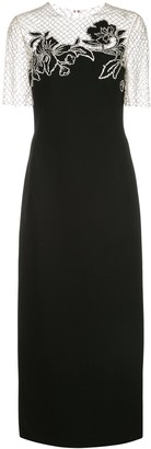 Oscar de la Renta Beaded Top Fitted Dress