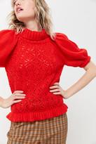 For Love & Lemons Francois Pointelle Puff Sleeve Sweater