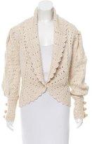 Oscar de la Renta Silk Open-Knit Cardigan