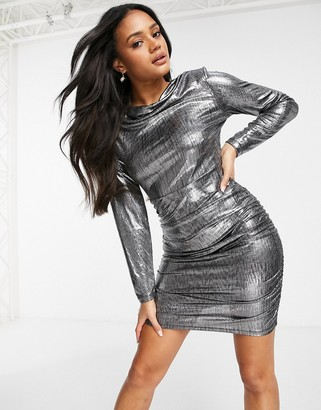 4th + Reckless drape front mini dress in metallic silver