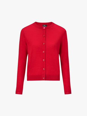 Paul Smith Red knitted cardigan 100% wool - SMALL - Red