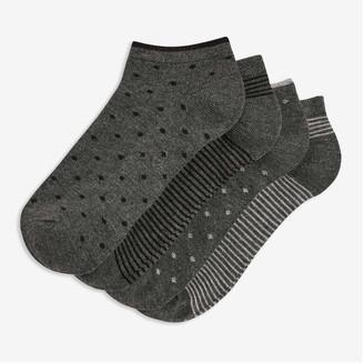 Joe Fresh Women's 4 Pack Bamboo Low-Cut Socks, Charcoal (Size O/S)