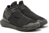 Y-3 Qasa Suede-trimmed Mesh High-top Sneakers - Army green