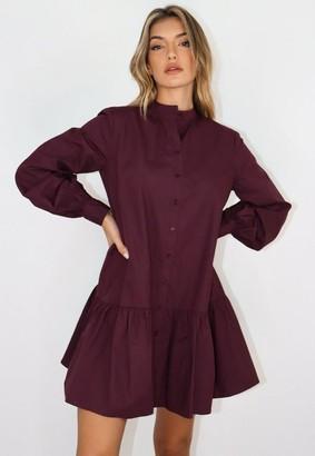 Missguided Plum Oversized Grandad Shirt Smock Dress