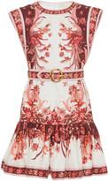 Zimmermann Wavelength Printed Belted Linen Mini Dress