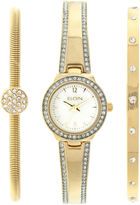 Elgin Womens Gold Tone Mother Of Pearl Bracelet Watch Set Eg16007Gtst