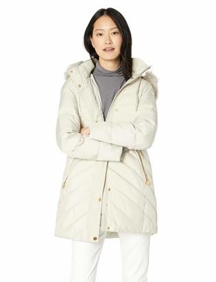 Anne Klein Women's Down Coat with Faux Fur Trim Hood