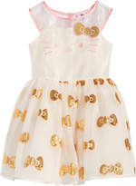 Hello Kitty Embroidered Face Organza Dress, Toddler Girls