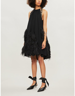 16Arlington Feather-trimmed chiffon mini dress