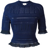 3.1 Phillip Lim knitted lace-detail top - women - Viscose/Nylon/Polyester/Spandex/Elastane - XS