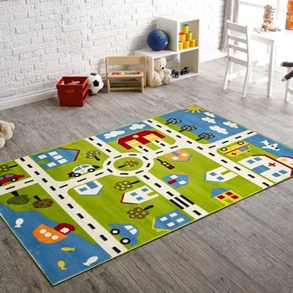 LR Home Fun & Play City Homes Green 3 Ft. 6 In. x 5 Ft. 6 In. Kids Indoor Area Rug