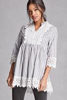 Forever 21 FOREVER 21+ Velzera Crochet Bib Striped Tunic