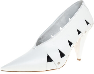 Celine White Leather V-Neck Cutout Pumps Size 39.5