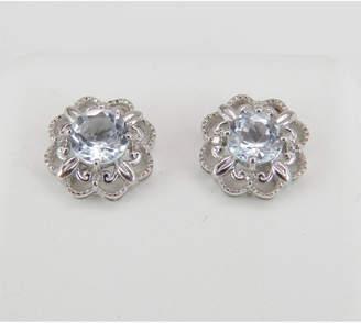 Margolin & Co Aquamarine and Diamond Stud Earrings Halo Flower Wedding Studs 14K White Gold March Gemstone