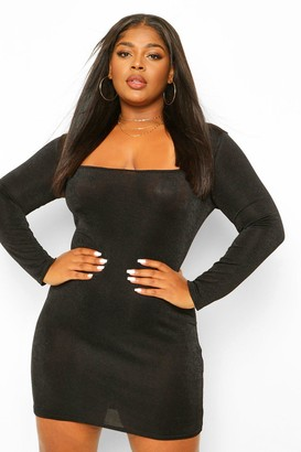 boohoo Plus Textured Slinky Square Neck Bodycon Dress