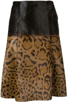Salvatore Ferragamo Animal Print Midi Skirt
