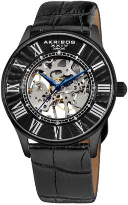 Akribos XXIV Men's Leather Diamond Watch