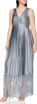 Little Mistress Women's Grey Lace Hem Maxi Dress