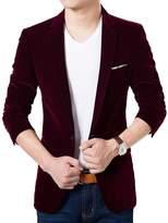 Sipei Suit Jacket Korean Velvet Blue Blazer Male Casual Jacket Single Breasted-M