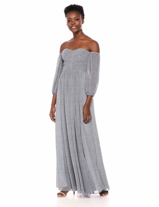 Halston Women's Off-Shoulder Sweetheart Neck Pleated Gown