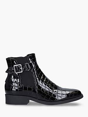 Carvela Comfort Rich Croc Effect Ankle Boots, Black