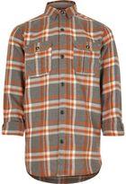 River Island Boys orange check shirt
