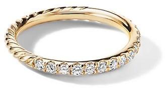 David Yurman 18K Yellow Gold Diamond Cable Band Ring