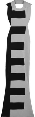 Rick Owens Open-back Two-tone Silk-ponte Maxi Dress